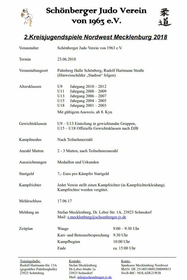 judo 2. kreisjugendspiele NWM 2018 in Schönberg
